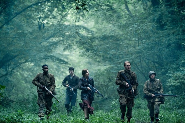 (L-R) Jovan Adepo as Boyce, Dominic Applewhite as Rosenfeld, Mathilde Ollivier as Chloe, Wyatt Russell as Ford, John Magaro as Tibbet in the film, OVERLORD by Paramount Pictures