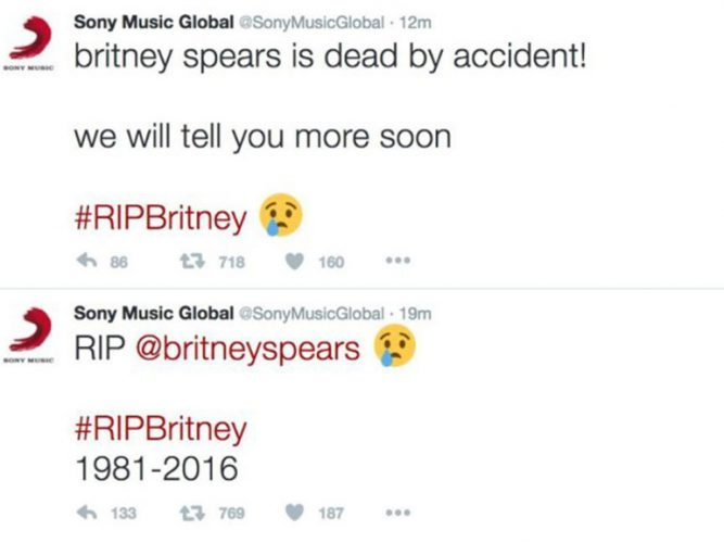 Nel 2016 è morta Britney Spears. La causa un incidente comunicato dall'account Twitter di Sony Music,casa discografica della cantante. L'account era stato hackerato